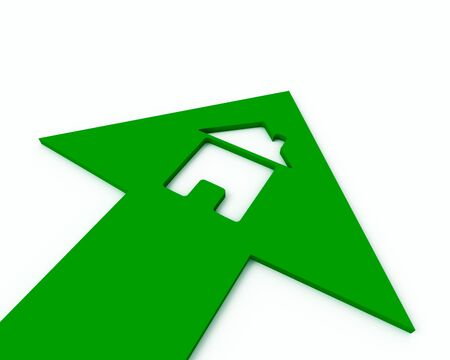 Icon of a small house inside of a green arrow Stock Photo - 7997952