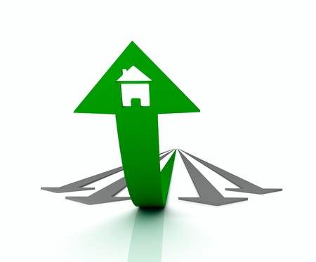 Green arrow with icon of house bends above gray arrows Stock Photo - 7997950