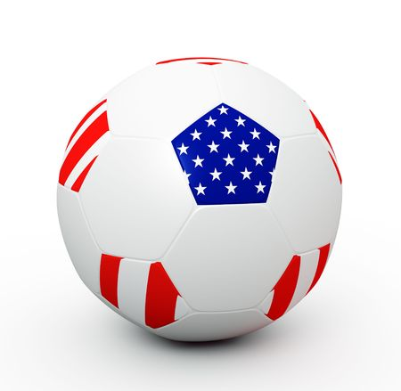 Soccer ball with the attributes of the American flag Stock Photo - 8093016