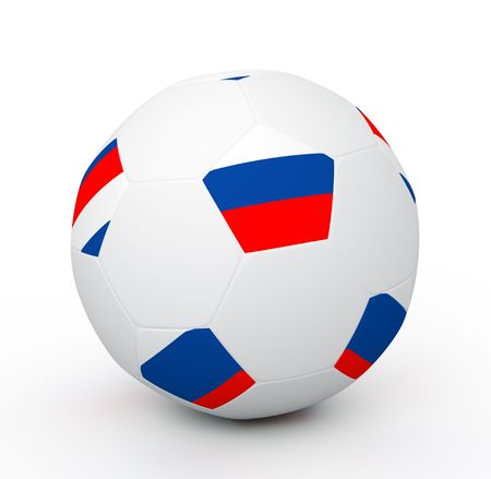 Soccer ball with the attributes of the Russian flag Stock Photo - 8093015
