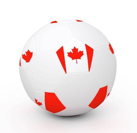 Soccer ball with the attributes of the Canada flag Stock Photo - 8175613