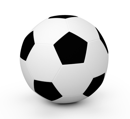 shootout: 3d rendered soccer ball isolated over white