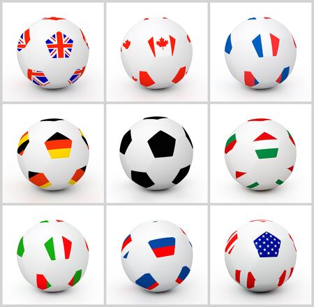 Set soccer ball with different attributes of countries flag photo