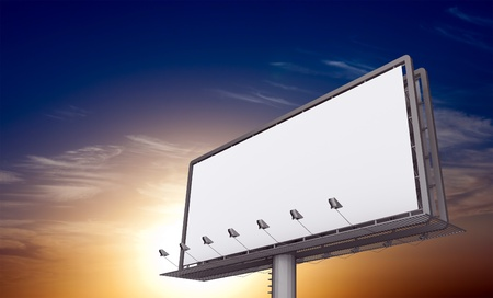 media advertising: Billboard against sunset