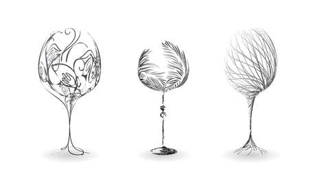 wine bar: A set of stylized outline of wine glasses Illustration