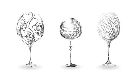 flet: Zestaw stylizowany zarys kieliszki do wina Ilustracja
