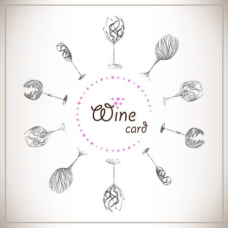 Sketch design wine list. Set Stylish wine glasses on paper Stock Vector - 10597442