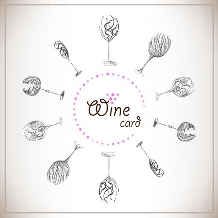 wineglass: Sketch design wine list. Set Stylish wine glasses on paper