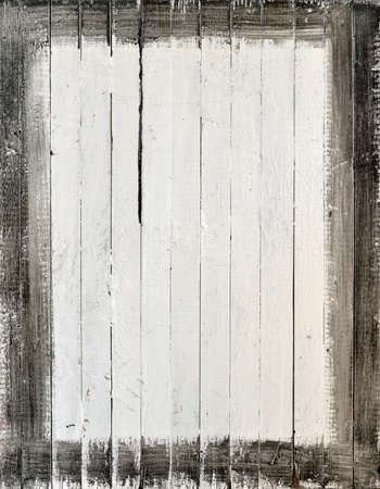 timber frame: Weathered white wood with paint frame Stock Photo