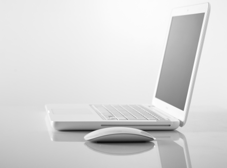 Computer Laptop and mouse photo