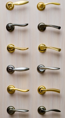 Set maniglie in metallo Archivio Fotografico
