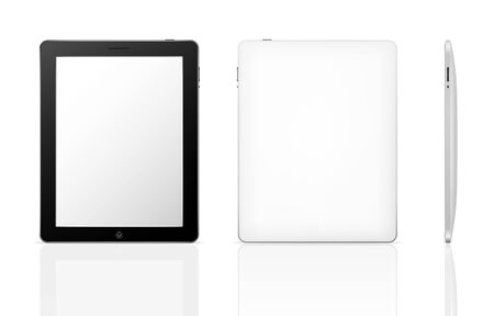 back icon: Vector tablet computer with shadow and reflection (front, back and side)