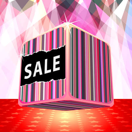 3d big sale cube Vector