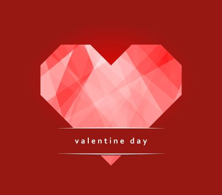 Card Valentine Day with a heart made of paper Vector