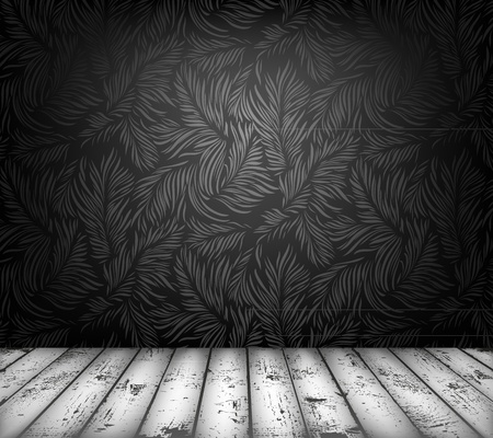 piso negro: Lujo interior con papel tapiz floral. Contenido del vector sin fisuras