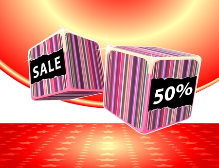 Vector sale cube fly at a gaming table Vector