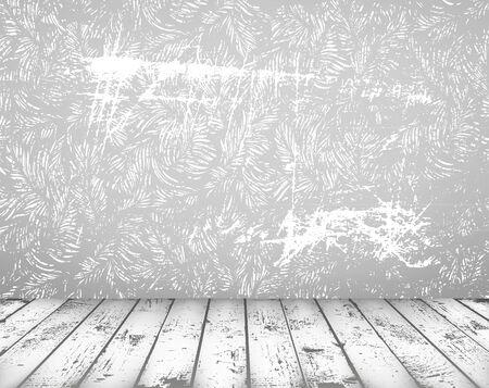 Vector grunge vintage interior with shabby wall and wooden floor Vector