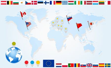 Flags of EU countries on world map and globe with pointers Vector