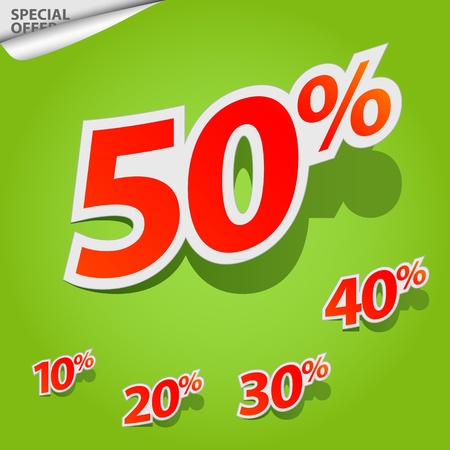 green coupon: Vector set of labels percent