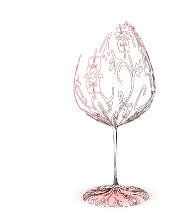 birthday champagne: Stylized wineglass