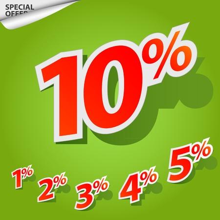 cut off: Vector set of labels percent