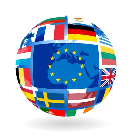 Flags of EU countries on globe Stock Vector - 12033563
