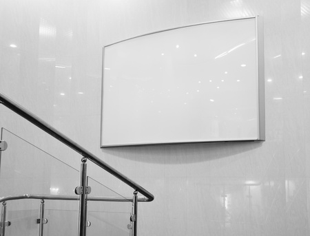 Black and white empty billboard in mall photo