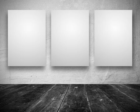 Blank banners in a old dark room Stock Photo - 12540543