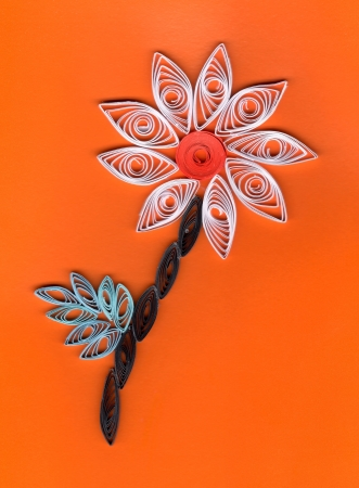 quilling: Flower applique with quilling