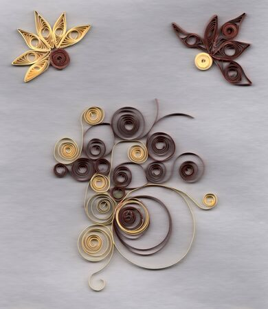 Flower applique with quilling. Stripe paper swirl photo