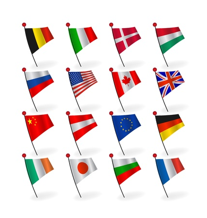 set icons flags Stock Vector - 12480976