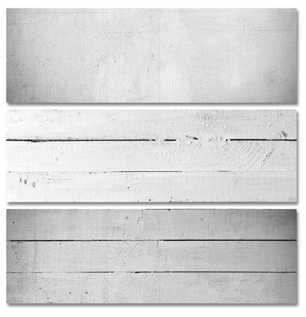 concrete block: White wooden plank