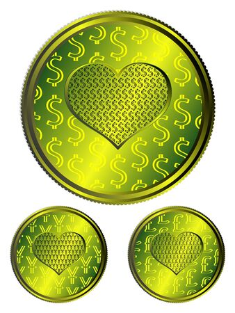 Vector set coins different currency Vector