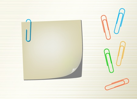 red pin: Vector page notepad and paper clips