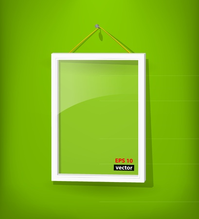 White frame on the wall Stock Vector - 12816306