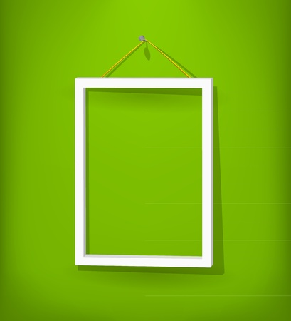 White frame on the wall Stock Vector - 12816512