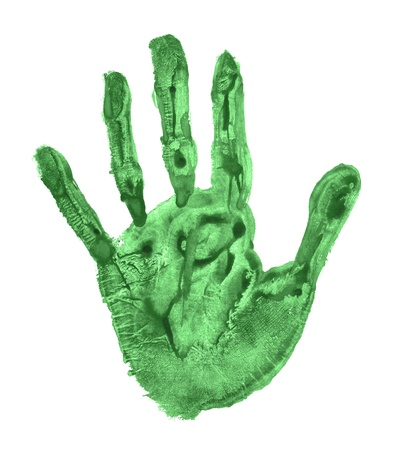 Green handprint photo