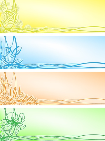 Set beautiful floral banners Vector