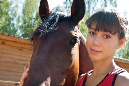 Girl and horse photo