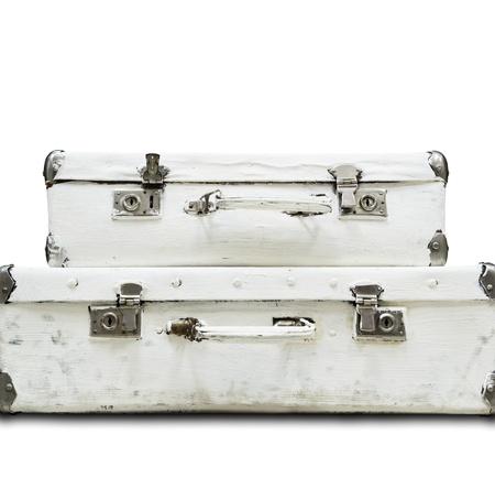 Twee koffer geà ¯ soleerd Stockfoto