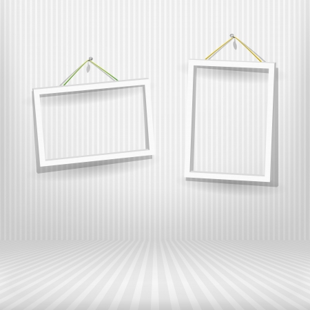 Two frames in striped room Stock Vector - 13729418