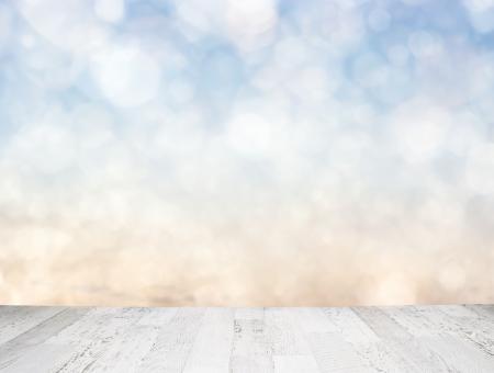empty shelf: Blue sky behind wooden floor