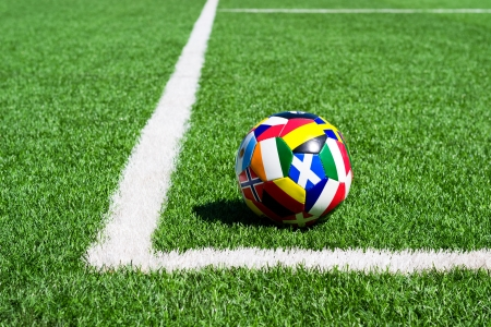 Different flags on Soccer ball for championship Stock Photo - 14580702