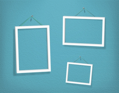 White frames on the textured wall Vector