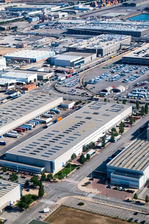 Aerial view place of Industrial buildings photo