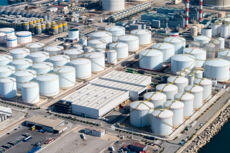 Aerial view of petrol industrial zone Stock Photo