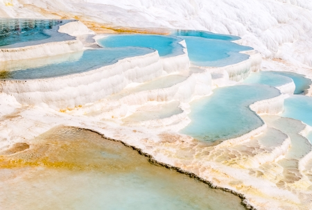 Closeup natural travertine pools and terraces, Pamukkale, Turkey photo