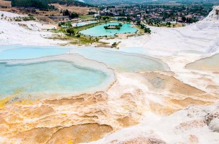 thermal spring: Closeup natural travertine pools and terraces, Pamukkale, Turkey