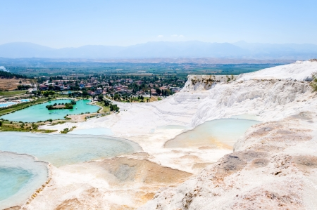 Closeup natural travertine pools and terraces, Pamukkale, Turkey