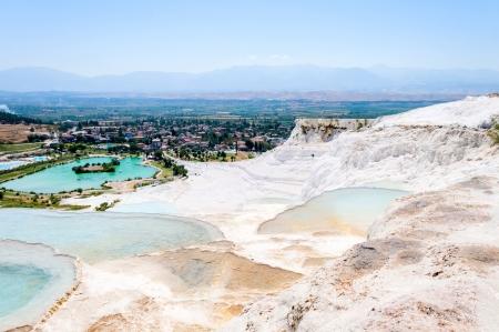 Closeup natural travertine pools and terraces, Pamukkale, Turkey